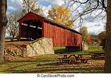 outono, ponte coberta