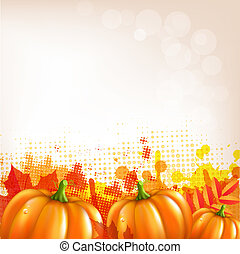 outono, pumkins, borda, folheia, laranja
