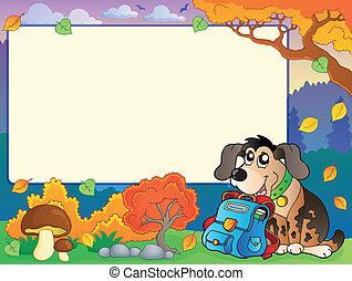 outono, quadro, cão, schoolbag