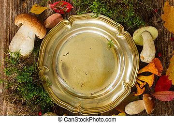 outono, quadro, com, cogumelos