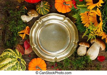 outono, quadro, com, prato