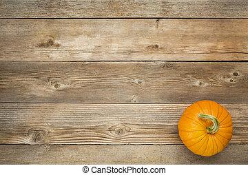 outono, rústico, madeira, abóbora