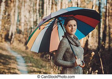 outono, retrato, mulher