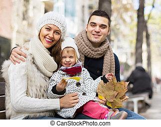 outono, retrato, pais, crianças, feliz