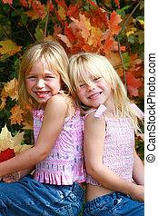 outono, retratos, de, gêmeo, l