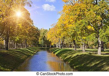 outono, rio, parque