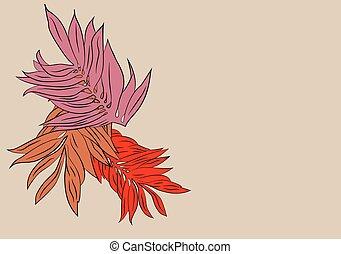outono, romanticos, padrão, de, folhas