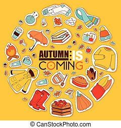 outono, símbolos, bandeira, itens, cartão, com, roupas,...