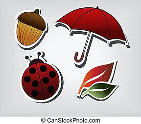 outono, símbolos, vetorial