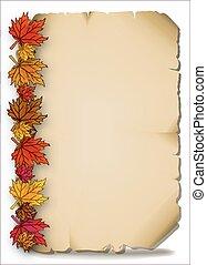 outono sai, antigas, pergaminho