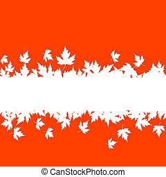 outono sai, fundo, com, prancha, borda