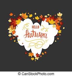 outono sai, maple, cartão