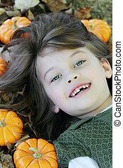 outono sai, mentindo, criança