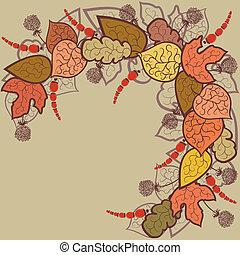 outono sai, vetorial, fundo, bagas
