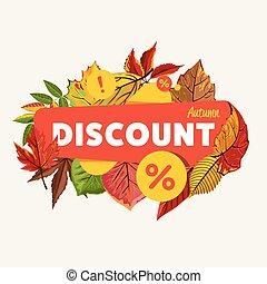 outono, sazonal, desconto, venda, banner.