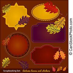 outono, scrapbook, adesivos