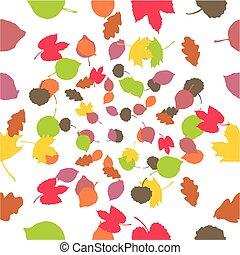 outono, seamless, fundo, folhas
