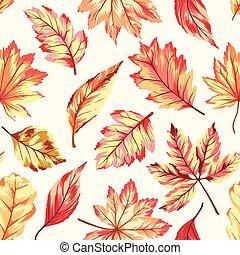 outono, seamless, padrão