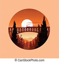 outono, steamtrain, paisagem