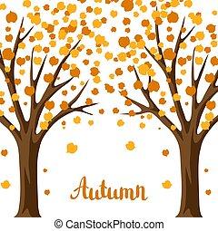 outono, stylized, fundo, árvores.