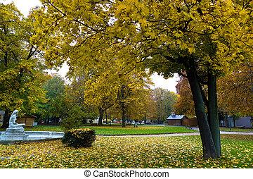 outono, superior, linz, áustria, volksgarten