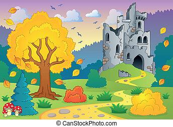 outono, tema, com, castelo, ruínas, 1