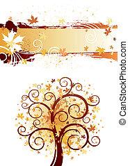outono, tema, desenho