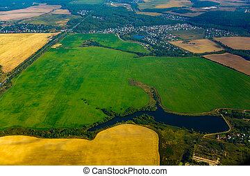 outono, terra cultivada, vista aérea