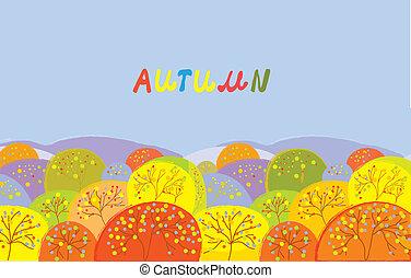 outono, texto, bandeira, árvores