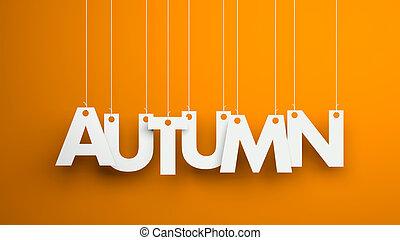 outono, -, texto, pendurar, a, strings., 3d, ilustração