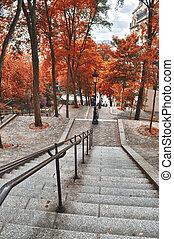 outono, time., escadaria, montmartre