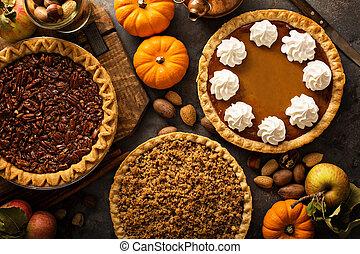 outono, tradicional, tortas, abóbora, pecan, e, maçã,...