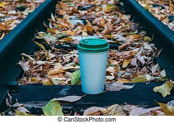 outono, urbano, café, meio ambiente, copo
