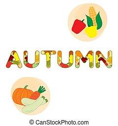 outono, vegetables., ilustração