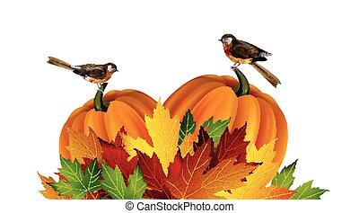 outono, vetorial, ação graças, composição