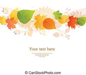 outono, vetorial, costas, ilustração, folheia