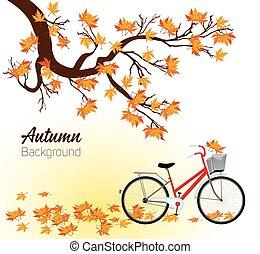 outono, vetorial, desenho, fundo