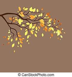 outono, vetorial, ramo