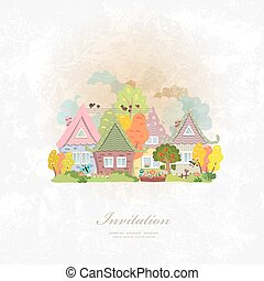 outono, vindima, cityscape, cartão, convite