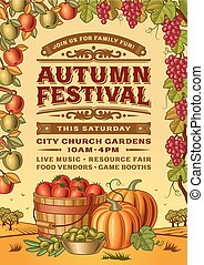 outono, vindima, festival, cartaz