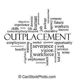 Outplacement Word Cloud Concept in black and white