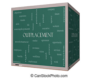 Outplacement Word Cloud Concept on a 3D cube Blackboard