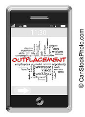 Outplacement Word Cloud Concept on a Touchscreen Phone
