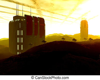Outpost beta - Digital created scenery. A scientific...