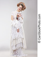 outre, femmina, splendido, merletto, fiori bianchi, vestire