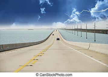 outre-mer, orage, autoroute, approchant