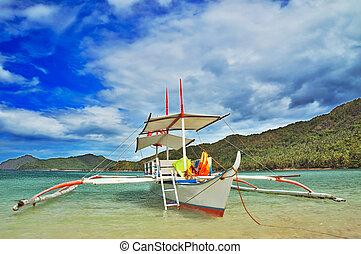 outrigged, bote, em, um, lagoa