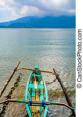 Outrigger canoe on the lake