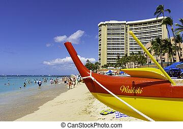 Outrigger Canoe on Waikiki Beach Honolulu Hawaii USA