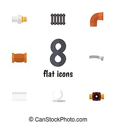outro, apartamento, oleoduto, jogo, torneira, suporte, elements., indústria, radiador, conector, também, vetorial, objects., inclui, enrolado, ícone